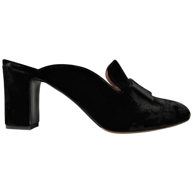 TABITHA SIMMONS Size 10 Black Velvet Bow Opera Pump Mules