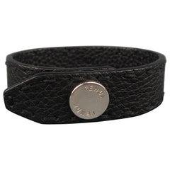 FENDI Black Topstitch Leather Silver Snap Skinny Cuff Bracelet