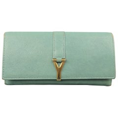 YVES SAINT LAURENT Teal Blue Leather Gold Y Wallet