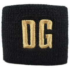 DOLCE & GABBANA Black & Gold DG EMbroidered Knit Sweatband Cuff