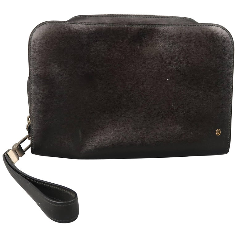 Vintage CARTIER Black Leather Wristlet Travel Toiletry Clutch Bag