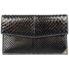 DOLCE & GABBANA Black Snake Skin Leather Card Holder Wallet
