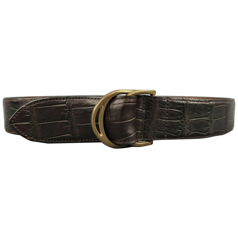 Men's RALPH LAUREN Brown Alligator Leather Double D Ring Belt