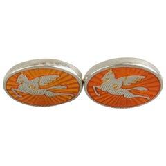 Men's ETRO Orange Pegasus Enamel Silver Tone Cuff Links