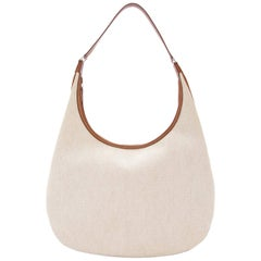 Hermes Tan Canvas Cognac Leather Trim Carryall Hobo Shoulder Bag in Box