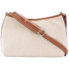 dd4930da554 Hermes Tan Canvas Cognac Leather Trim Top Handle Satchel Shoulder Bag in Box