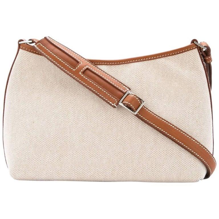 49cfc380176e Hermes Tan Canvas Cognac Leather Trim Top Handle Satchel Shoulder Bag in  Box For Sale