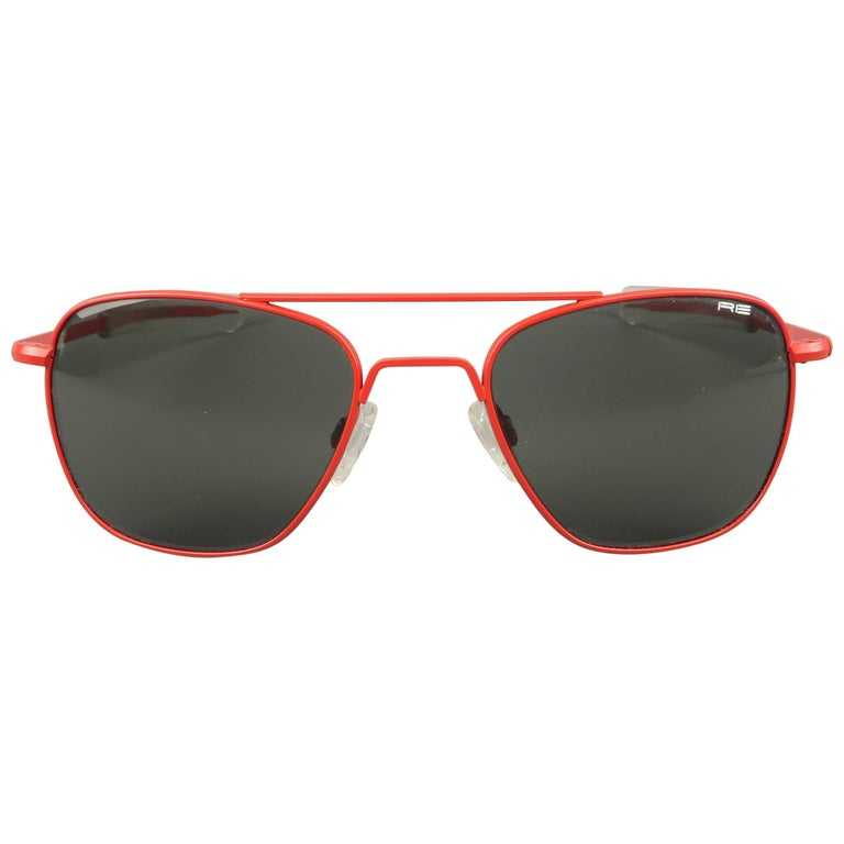 3276e69477f MICHAEL BASTIAN x Randolph Engineering Red Metal Aviator Sunglasses at  1stdibs