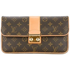 Louis Vuitton Monogram Canvas Gold Evening Clutch Foldover Flap Bag in Box
