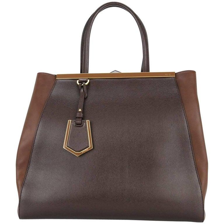 Fendi Chocolate Leather Large Carryall Travel Weekender Top Handle Tote Bag