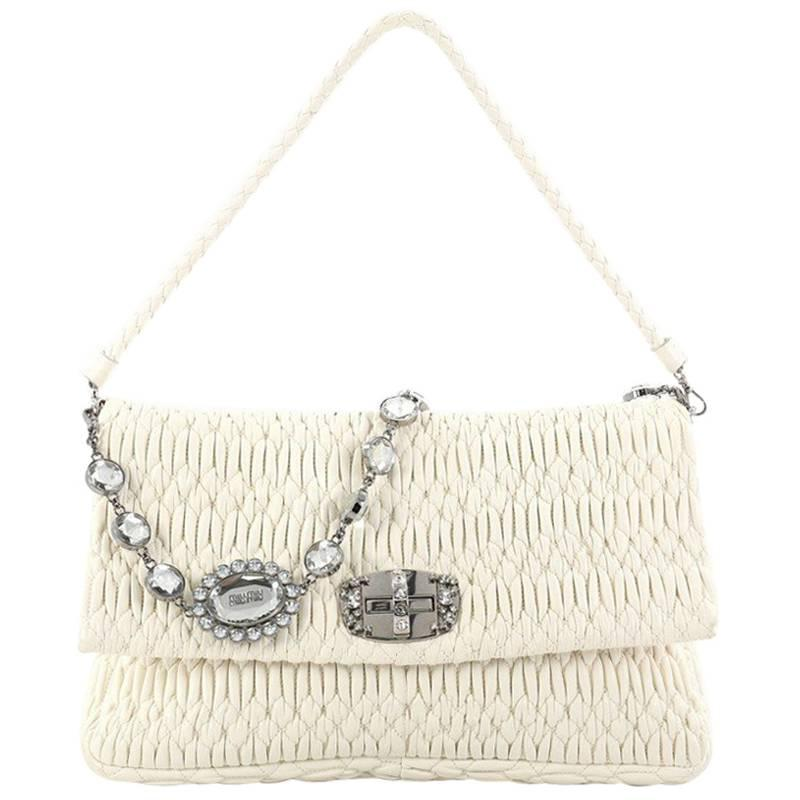 1stdibs Miu Miu Crystal Flap Shoulder Bag Matelasse Leather Medium TV3JkS