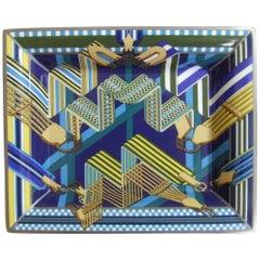 Hermes Printed Porcelain Change Tray Vide-poches 3H Sangles en Zigzag Outremer