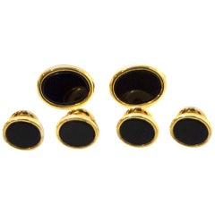 Pierre Cardin Black Onyx & Goldtone Tuxedo Set with Case