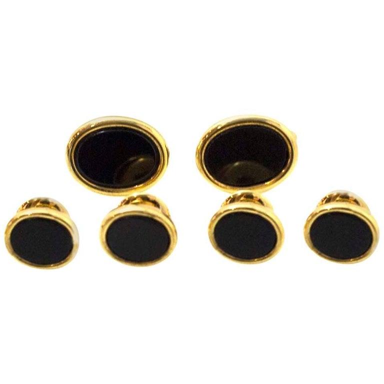 Pierre Cardin Black Onyx & Goldtone Tuxedo Set with Case