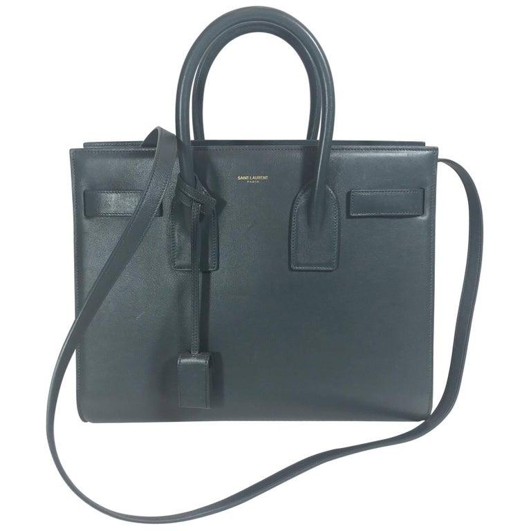 Saint Laurent Classic Small Sac De Jour Bag In Petrol Leather