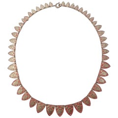 Art Deco Graduated Red Gold Tone Rose Collar Necklace