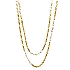 Chanel '90s Vintage Ivory Faux Pearl & Goldtone Extra Long Necklace