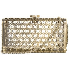 Chanel Paris/Dubai Goldtone CC Moucharabieh Minaudiere Evening Clutch