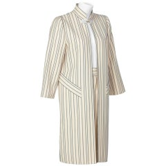 1990s Pauline Trigere creme and Navy Striped Wool Twill Skirt Suit
