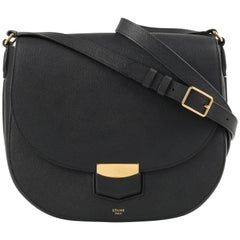 "CELINE A/W 2015 ""Trotteur Medium"" Black Grained Calfskin Leather Saddle Bag"