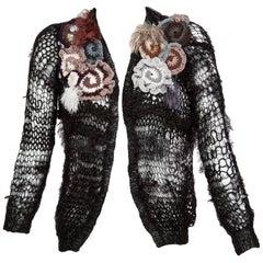2014 Rodarte Black Handmade Openknit Wool & Lamè Crochet Flower Sweater