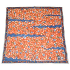 Japanese Multi Rose & Navy Floral Cotton Scarf