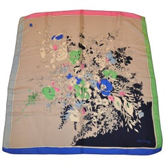 "Rare Pierre Cardin Whimsical Multi-Color ""Boutique of Florals"" Silk Scarf"