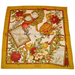 "Ferragamo Gold Border with ""Golden Floral Memories"" Silk Jacquard Scarf"