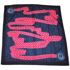 "Byzance Fuchsia & Pink ""Ribbon"" with Midnight Blue Border Silk Scarf"