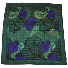 "Christian Dior ""Autumn Green Hues Violet Floral & Palsey"" Silk Scarf"