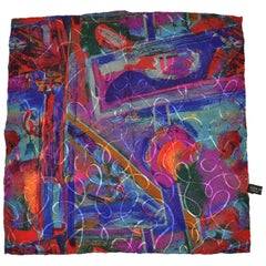 "Vivid Multi-Color ""Abstract Painting with Swirls"" Silk Handkerchief"