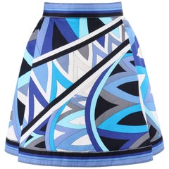 "EMILIO PUCCI c.1969 ""Arcate"" Signature Print Blue Op Art Cotton Pleated Skirt"