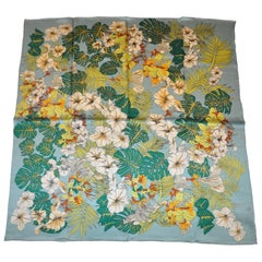 Shades of Green & Multi Color Floral Silk Scarf