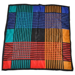 "Multi-Color ""Abstract Plaid"" Silk Scarf"