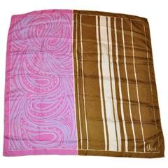 """Vera Multi-Color """"Stripes and Swirls"""" Silk Scarf"""