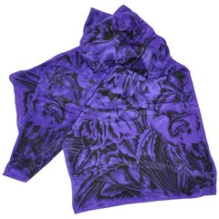 "Honey Rich Violet & Black ""Bursting Floral"" Silk Scarf"