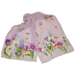 "Beautiful Lavender with Multi-Color ""Delicate Florals"" Silk Chiffon Scarf"