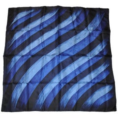 "Shades of Blues & Black ""Brush Strokes"" Silk Scarf with Hand-Rolled Edges"