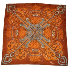 Vera Rich Shades of Brown Hues Abstract Silk Scarf