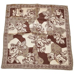 "Vera Shades of Browns & Taupe ""Large Florals"" Silk Scarf with Hand-Rolled Edges"