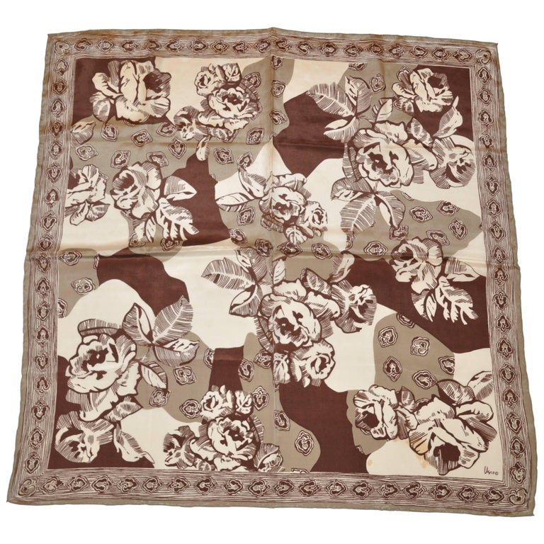 """Vera Shades of Browns & Taupe """"Large Florals"""" Silk Scarf with Hand-Rolled Edges"""