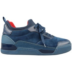 Men's CHRISTIAN LOUBOUTIN Sneakers US 10 Navy Suede & Leather AURELIEN FLAT