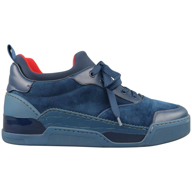 b6e5d75223c Men s CHRISTIAN LOUBOUTIN Sneakers US 10 Navy Suede   Leather AURELIEN FLAT  ...