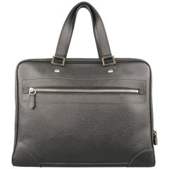 Louis Vuitton Men's Briefcase Black Taiga Textured Leather Travel Bag Attache
