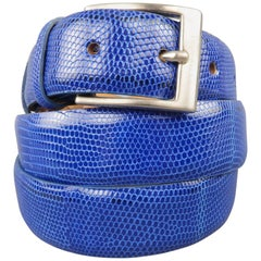 Men's LARUSMIANI Size 38 Royal Blue Lizard Leather Silver Buckle Dress Belt