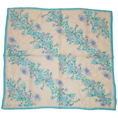 "Vera Bright Turquoise ""Springtime Turquoise Floral"" Silk Scarf"