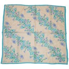 "Vera Bright Turquoise ""Springtime Turquoise Floral"" Silk Scarf"