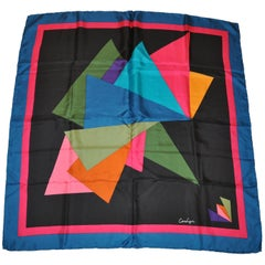 Carlyn Deep Turquoise Border Multi Abstract Silk Scarf