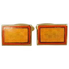 Faconnable Gold Tone Metal Orange Checkered Enamel Vintage Cuff Links