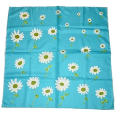 "Baar & Beards Rich Turquoise with ""White Floral"" Silk Scarf"